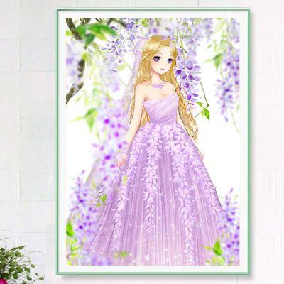新款5D手绘花仙子钻石画贴钻十字绣满钻卡通儿童背影女孩卧室砖秀