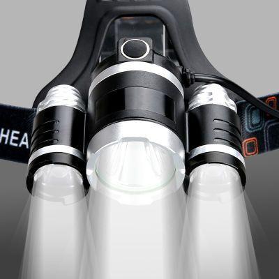 5000W头灯头式蓝光usb光明可充电式led灯白光电灯可拆卸矿灯套头