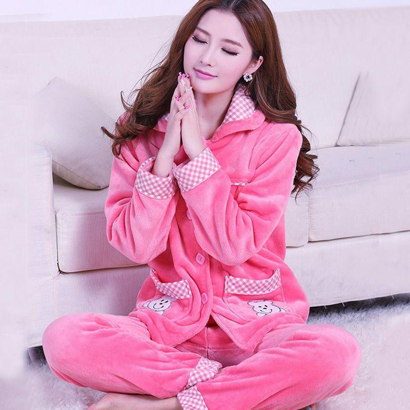 秋冬季加厚珊瑚绒睡衣女士韩版套装长袖法兰绒家居服加大码妈妈装