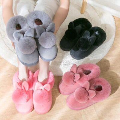 棉拖鞋女秋冬季情侣家居保暖厚底室内可爱包跟月子鞋毛毛拖鞋冬天