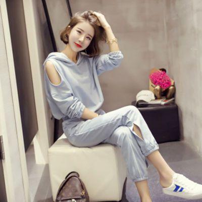 运动套装女2018秋季新款休闲运动套装修身韩版长袖长裤卫衣两件套