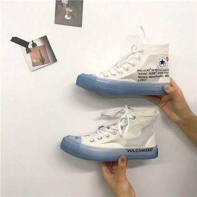 off white水晶万斯ow板鞋女1970s高帮帆布鞋男潮牌INS联名透明鞋