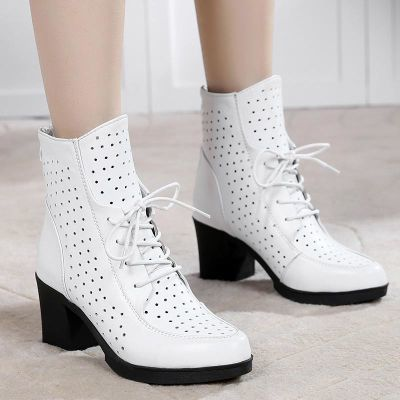 真皮镂空女靴春季新款2018百搭短靴粗跟英伦风马丁靴女鞋春秋单靴