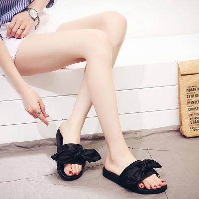蝴蝶结凉拖女夏时尚外穿学生韩版塑胶平底防滑沙滩女士一字拖厚底