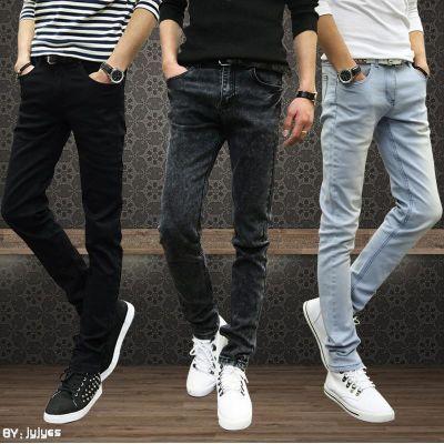 春秋款蓝色牛仔裤男装小脚裤韩版潮流弹力修身型休闲潮男学生裤子