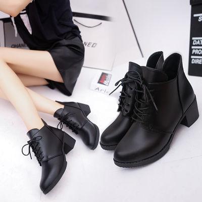 春秋季女靴子高跟短筒马丁靴女士英伦风粗跟短靴女加绒棉靴女棉鞋