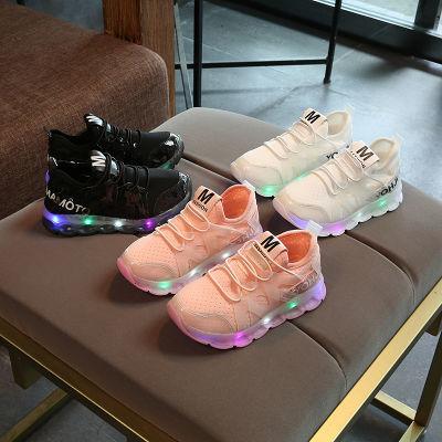 春夏亮灯22码-37码秋夏季带灯鞋运动鞋男女公主童鞋LED粉色小白鞋