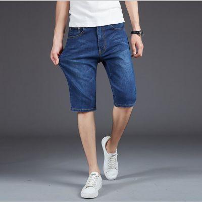 苹果男士牛仔裤直筒短裤男五分牛仔中裤男装中年夏季款宽松柔顺