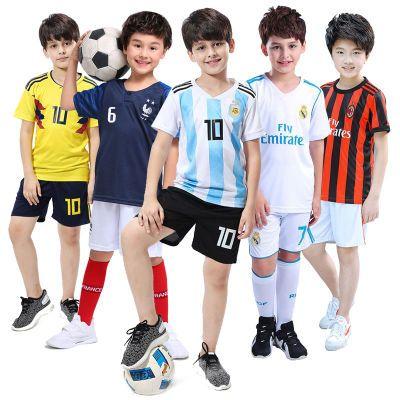 儿童足球服皇马巴萨球衣男女小学生幼儿园宝宝运动服套装比赛