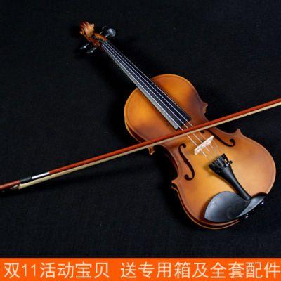 小提琴初学者学生小提琴儿童小提琴乐器复古小提琴成人送琴盒配件