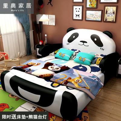 儿童床熊猫1.5米带护栏实木真皮创意女孩男孩1.2米卡通 1米单人床