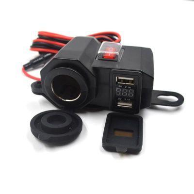 改装件摩托车点烟器双usb手机充电器12V多功能数显踏板车车充防水