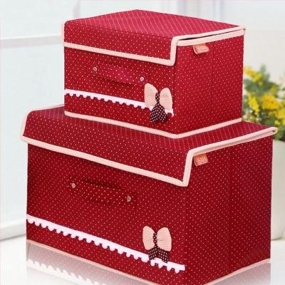 【大号+小号】蝴蝶结收纳箱有盖收纳盒整理箱储物箱衣物创意收纳