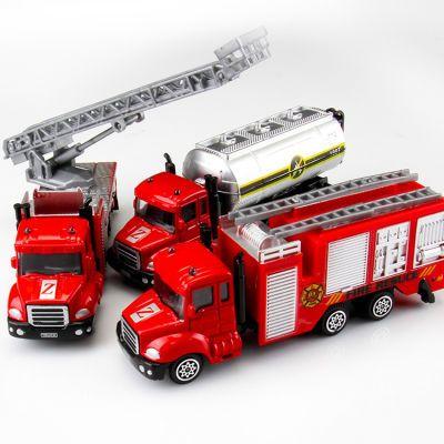 消防车玩具云梯车儿童回力合金工程挖掘机男孩城市警察模型小汽车