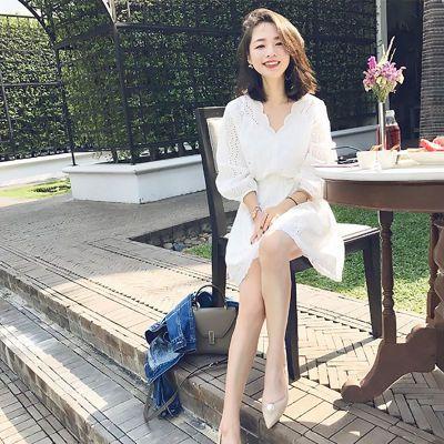 超仙收腰显瘦气质白色连衣裙小个子仙女a字裙子夏2018夏季新款