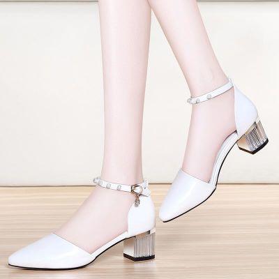 凉鞋2017新款女白色中跟气质甜美百搭尖头半高跟优雅韩版舒适夏粉