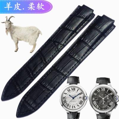 代用卡地亚蓝气球表带男 女士手表凸口超薄柔软双长真皮表带配件