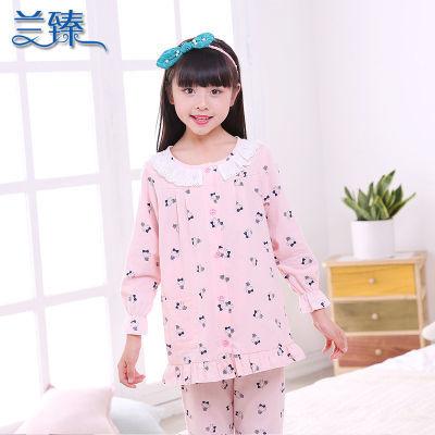 儿童睡衣棉质女童家居服套装春秋薄款长袖小公主大女孩睡衣