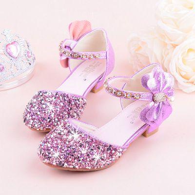 女童高跟鞋儿童公主鞋新款韩版闪钻学生凉鞋表演蝴蝶水晶鞋演出鞋