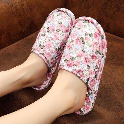 韩国男女情侣秋冬季家居棉拖鞋卧室内木地板无声软底布底静音托鞋