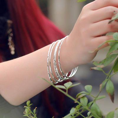s999纯银手镯女白银手镯刻字银手环生日韩版简约时尚镯子送女友