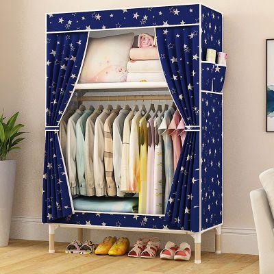 简易衣柜实木衣橱组装折叠租房布衣柜收纳架单双人儿童收纳柜加固