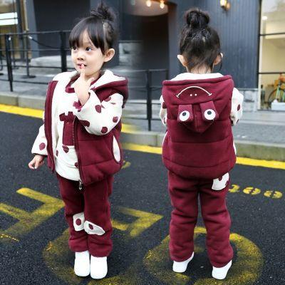 童装女童冬季三件套运动套装新款5宝宝3秋冬4加绒卫衣1-2-6岁加厚