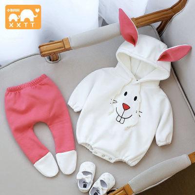 婴儿套装秋装女宝宝春季连体衣两件套3-6-9个月新生儿衣服外出服
