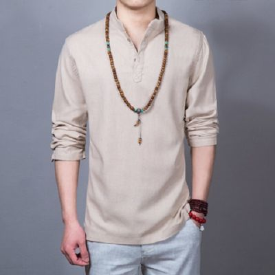 亚麻长袖t恤男春秋季套头V领中国风棉麻长袖T恤衫宽松大码打底衫