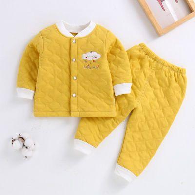 婴儿保暖衣套装纯棉男女幼儿童宝宝内衣裤春秋冬季夹棉衣服加厚