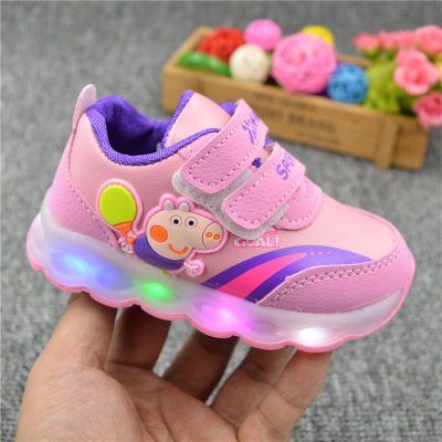 宝宝机能运动鞋春秋男女童学步鞋1-2-3岁儿童闪光灯皮面防水单鞋