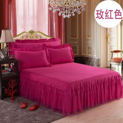 纯棉床罩床套单件冰丝席床裙床单单人床笠被罩单件件套公主床裙套
