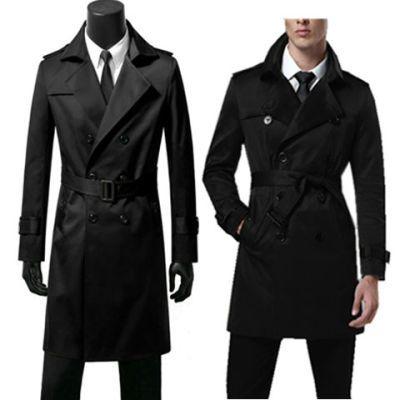 新款男士风衣中长款冬韩版潮男修身英伦大衣加厚青年大码学生外套