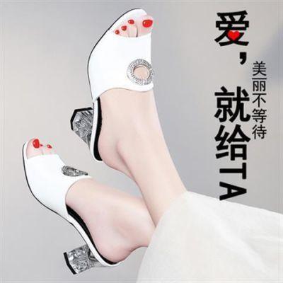 2018新款夏季水晶跟鱼嘴高跟拖鞋真皮时尚中跟一字拖粗跟女凉拖鞋
