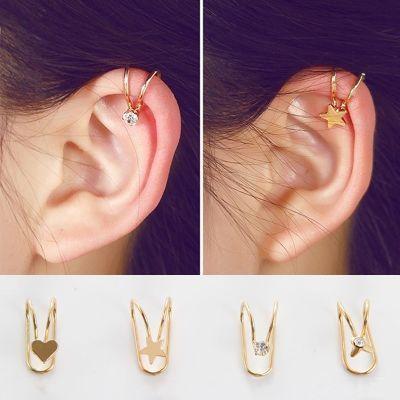 个性女无耳洞甜美耳骨夹韩国时尚水钻耳钉清新学生简约耳饰耳环