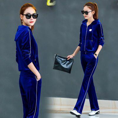 春秋季新款金丝绒休闲运动套装女长袖韩版时尚两件套连帽运动服女