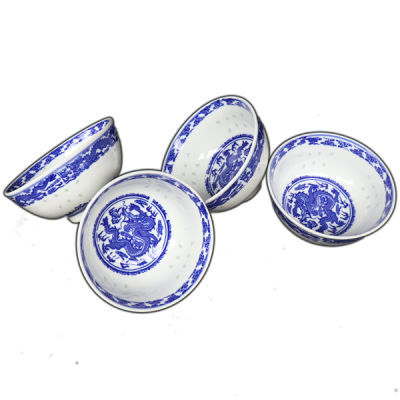 陶瓷碗套装10只装景德镇青花瓷碗玲珑瓷米饭碗釉下彩碗家用中式碗