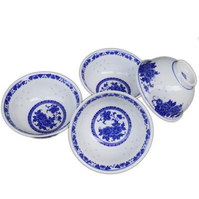 景德镇青花瓷碗家用玲珑瓷碗釉下彩吃饭碗小汤碗高脚中式复古简约