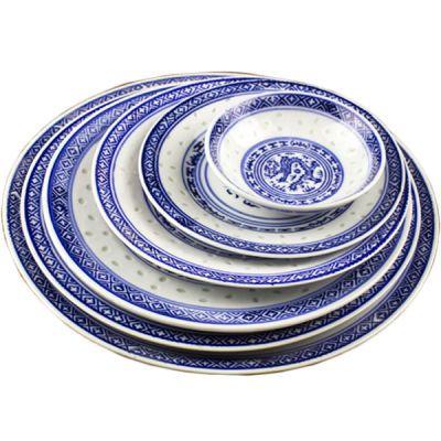 景德镇陶瓷盘家用菜盘平盘圆盘釉下彩盘饺子盘果盘青花瓷盘子中式