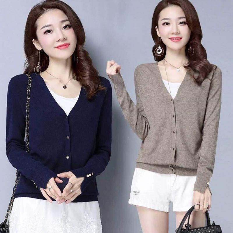 佰恋莱女士秋季新款针织开衫外套韩版纯色大码毛衣长袖V领女装