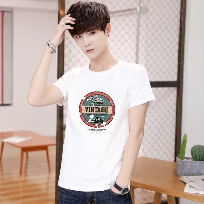 精梳纯棉圆领男士T恤青少年大码T恤学生短袖小清新T恤情侣广告衫