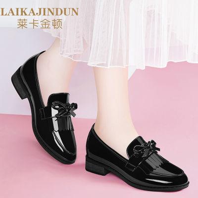 莱卡金顿黑皮鞋女学生韩版百搭英伦小皮鞋学院风漆皮平底单鞋6002