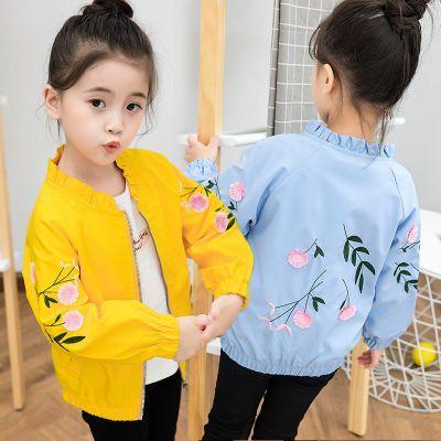 女童外套2020春秋款儿童上衣休闲绣花夹克2-12岁中大童拉链衫衣服