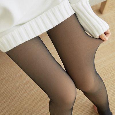 春秋冬季外穿假透肉高腰打底裤女空姐灰透肤薄款加绒加厚连裤袜