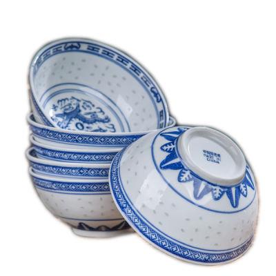 景德镇陶瓷碗家用吃饭碗釉下彩饭碗青花瓷高脚汤碗防烫面碗复古碗