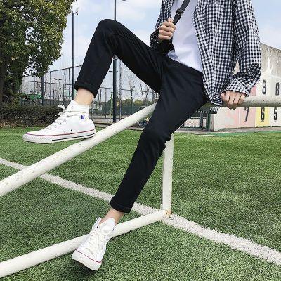 2020夏季男士黑色牛仔裤破洞青少年修身韩版潮百搭男生小脚长裤子