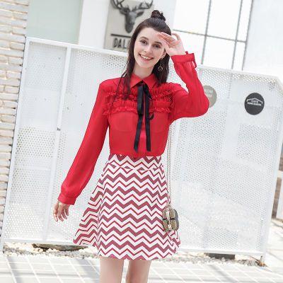 套装女2020春雪纺连衣裙女系带长袖上衣收腰条纹短裙两件套套装裙