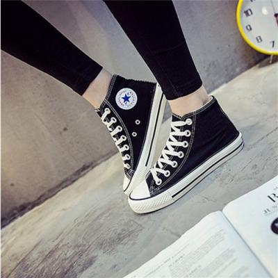 春季高帮帆布鞋女韩版学生平底休闲鞋女运动鞋小清新板鞋男女潮鞋