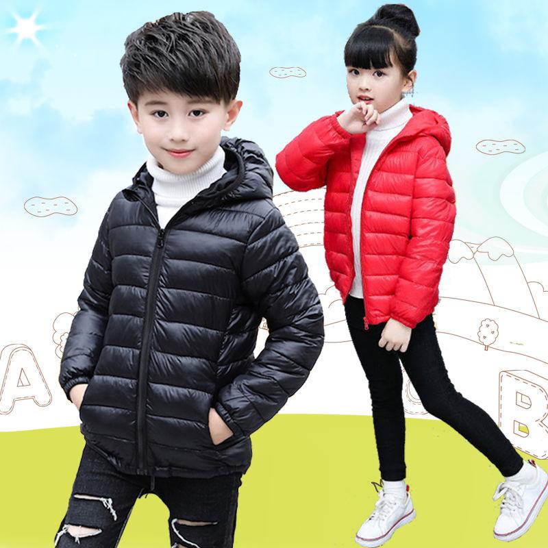 2021反季儿童轻薄款羽绒棉服1-14岁男女童秋冬保暖连帽外套短款