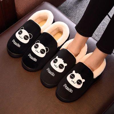 秋冬季情侣居家男棉拖鞋包跟厚底防滑保暖可爱卡通毛毛月子拖鞋女